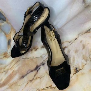 YSL suede & leather heels size 9.5